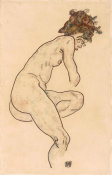 Egon Schiele - Seated Nude with Bent Left Knee, 1918