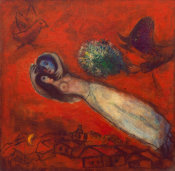 Marc Chagall - Les Amants au ciel rouge (Lovers in the Red Sky), 1950